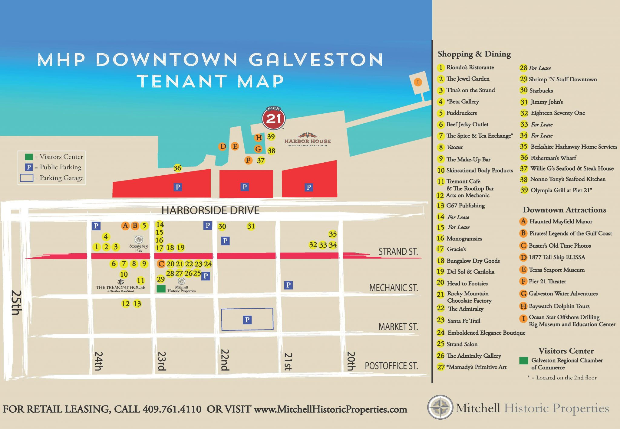 Galveston waterfront shopping and dining map