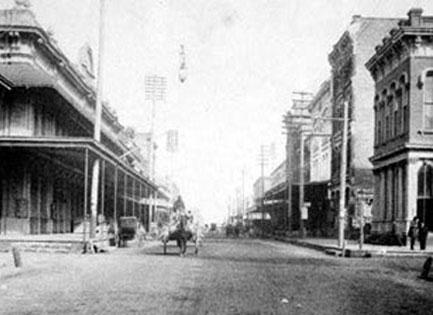 historic photo of galveston island street